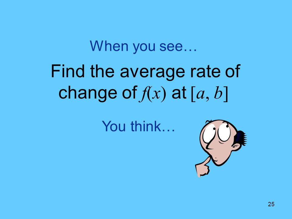 Find the average rate of change of f(x) at [a, b]